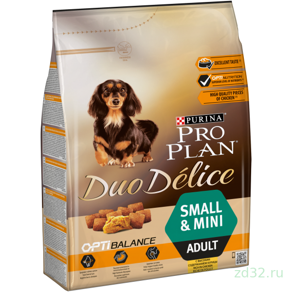 Pro Plan Duo Delice Small&Mini Adult сухой корм для собак мелких пород Курица